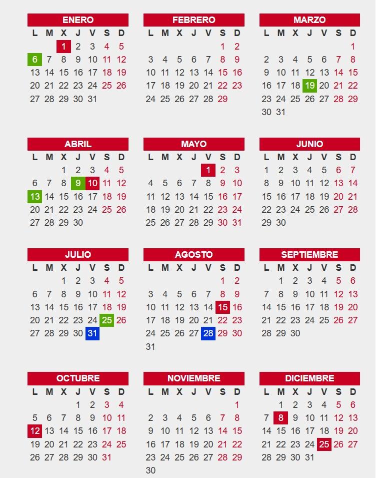 Calendario laboral Bizkaia 2020