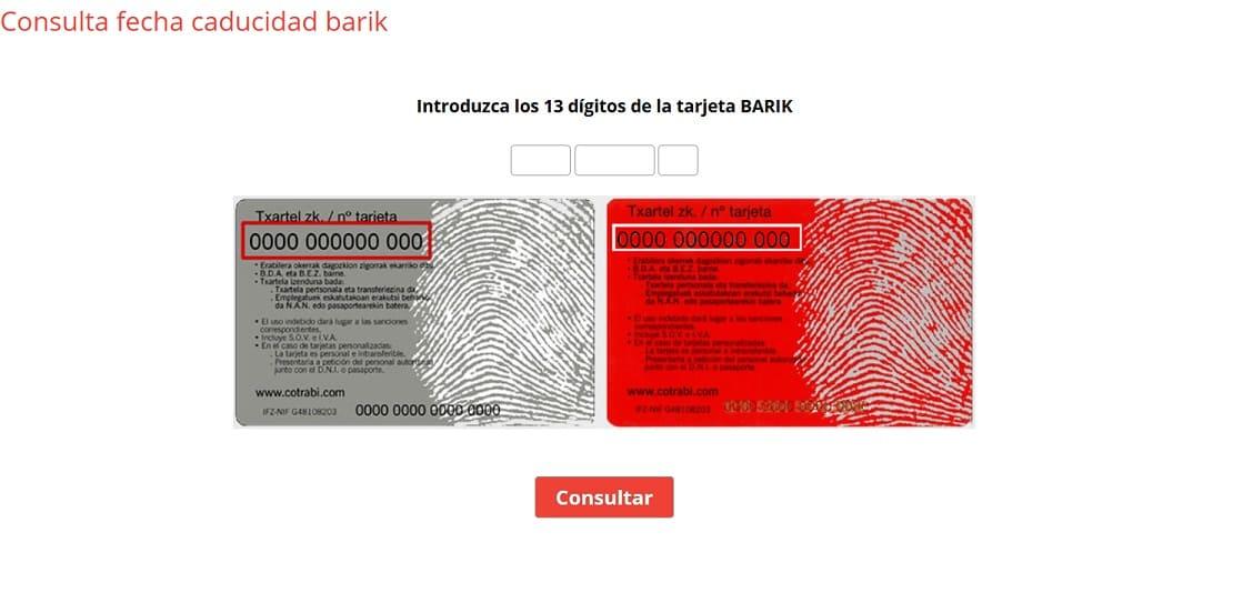 consultar fecha caducidad tarjeta barik