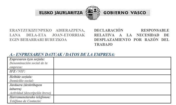 Justificante de Movilidad del Gobiernos Vasco
